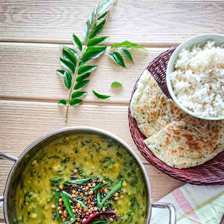 easy lentil curry (dal) with spinach