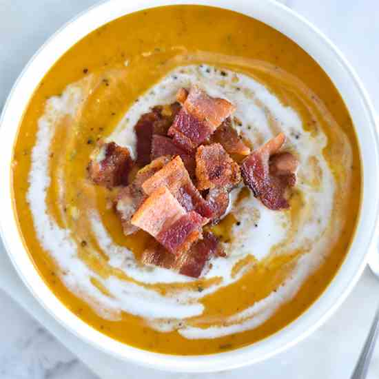Paleo Sweet Potato and Bacon Soup
