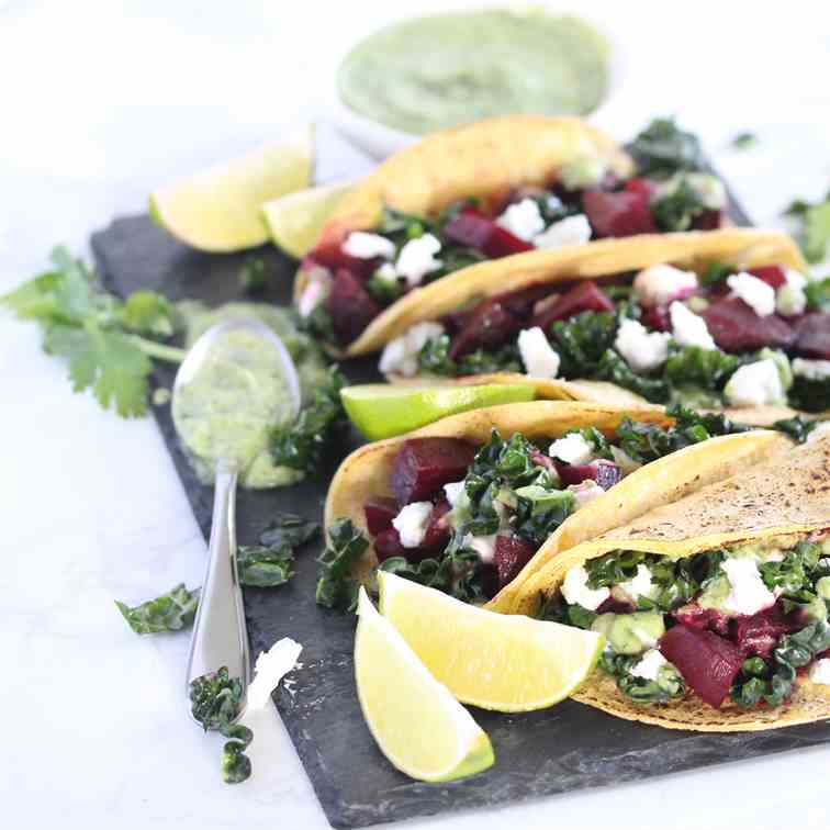 Beet and Kale Tacos